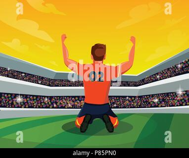 Celebration and Winning Concept: Rear View of Soccer Player in stadium showing hand up. Light, stands, fans. Vector Illustration - Stock Photo