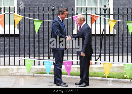 Prime Minister David Cameron meets with the Russian President Vladimir Putin at number 10 Downing Street, the presidents fist visit to the United Kingdom in 9 years. 2 August 2012 --- Image by © Paul Cunningham - Stock Photo