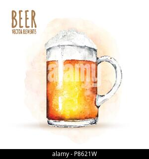 Watercolor elements on the theme of beer. Beer glass, hops, malt. - Stock Photo