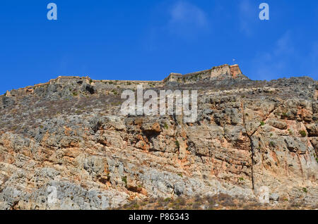 Old Venetian fortress on the Gramvousa island in the greece Mediterranean Sea. - Stock Photo