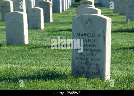 General Marcus Reno's grave at Custer National Cemetery, Montana.  Photograph - Stock Photo