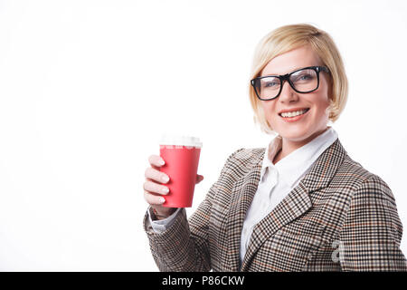 Successful smiling blonde businesswoman wears eyeglasses holding coffee cup on white background with copyspace - Stock Photo