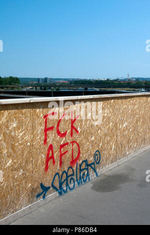 Protest Graffiti against the right wing german political party, Alternativ für Deutschland, (AfD), Dresden, Saxony, Germany. - Stock Photo