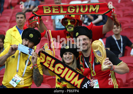 Kazan, Russian. 06th July, 2018. 6.07.2018. KAZAN, Russia: Belgium fans celebrate victory at end of the Round-8 Fifa World Cup Russia 2018 football match between BRAZIL V BELGIUM in Spartak Stadium. Credit: Independent Photo Agency/Alamy Live News - Stock Photo