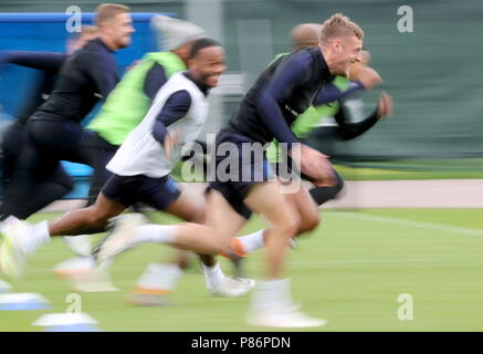 St Petersburg, Russia. 10th July, 2018. ST PETERSBURG, RUSSIA - JULY 10, 2018: Players of the English men's national football team training for their 2018 FIFA World Cup semifinal against Croatia. Alexander Demianchuk/TASS Credit: ITAR-TASS News Agency/Alamy Live News - Stock Photo