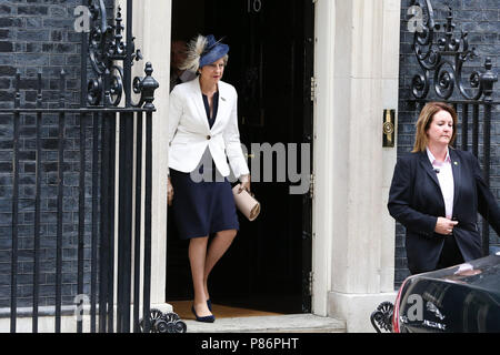 Downing Street. London. UK 10 June 2018 Prime Minister Theresa May departs from Number 10 Downing Street to attend the RAF100 Service at Westminster Abbey.   Credit: Dinendra Haria/Alamy Live News - Stock Photo