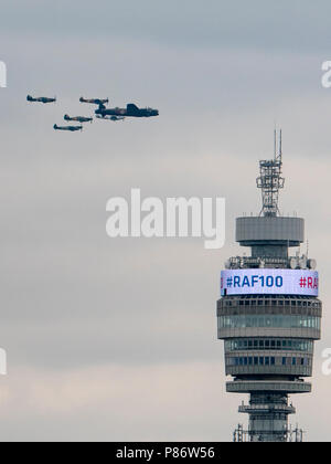 London, England, June 10th 2018, aircraft of the Battle of Britain Memorial Flight pass the BT Tower on their way to pass over Buckingham Palace to celebrate the 100th Anniversary of the Royal Air Force (RAF) Credit: Louis Berk/Alamy Live News - Stock Photo