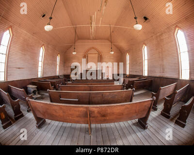 Inside the Methodist Church, Bodie ghost town, Bodie State Historic Park, California. - Stock Photo