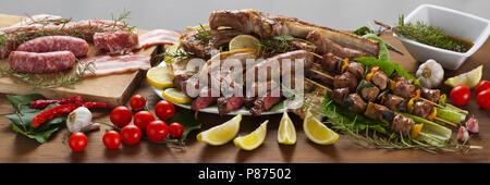 roast of mixed meat - Stock Photo