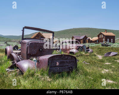 Old cars, Bodie ghost town, Bodie State Historic Park, California. - Stock Photo