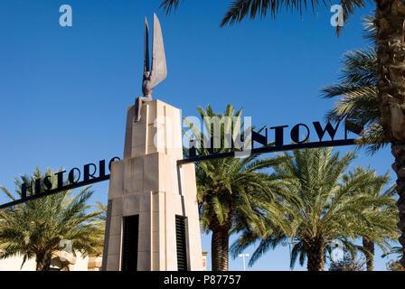 Historic Downtown Entrance Sign at Boulder City, Nevada USA - Stock Photo