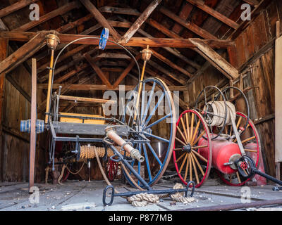 Inside the Firehouse, Bodie ghost town, Bodie State Historic Park, California. - Stock Photo