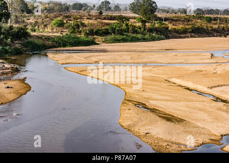 transparent water close view of River  sand looking awesome in summer season. - Stock Photo