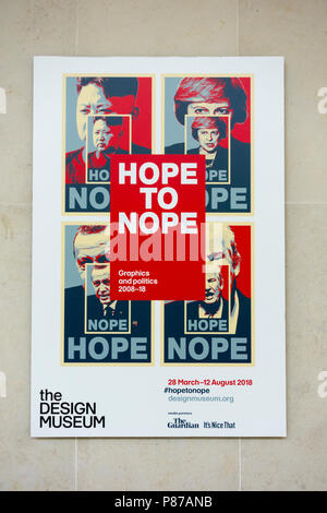 Hope to Nope exhibition poster outside the Design Museum in London, UK - Stock Photo