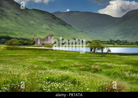 Ruins of the 15th Century Kilchurn Castle in the Scottish Highlands on Loch Awe Dalmally Scotland UK - Stock Photo