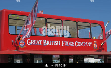 The Great British Fudge Company red bus sweet shop, Silverstone, England, UK - Stock Photo