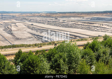 View at open pit mine Hambach with brown coal digging. - Stock Photo