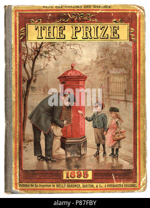 Front cover of the victorian childrens magazine The Prize, Postman collecting the mail - Stock Photo