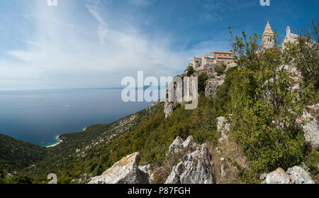 Panoramic view of Lubenice, ancient fort city on the island of Cres, Croatia. - Stock Photo