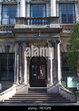 London, UK - July 07 2018: Closeup of the entrance of the Shoreditch Town Hall - Stock Photo