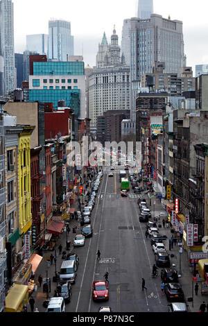 New York, NY / USA - 04.14.2018:  Chinatown Street in Manhattan New York city topview - Stock Photo