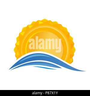 Sun over the sea. Sunrise logo icon. Cartoon sun over sea waves. Vector illustration isolated on white background - Stock Photo