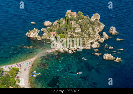 Scenic view of the Isola Bella in Taormina, province of Messina, southern Italy. - Stock Photo