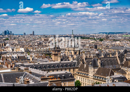 A view of the rooftops of Paris and the area surrounding the Pantheon. - Stock Photo