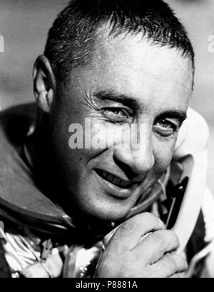 "Virgil I. (Gus) Grissom, pilot of the Mercury-Redstone 4 (MR-4) ""Liberty Bell 7"" spaceflight, talking on the phone with President Kennedy - Stock Photo"