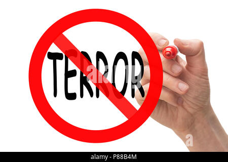 Hand drawing stop sign around the word terror. Conceptual. - Stock Photo