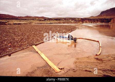 At Site of Oil - Spill Clean - Up Operations in a Remote Area of the San Juan River, 10 1972 - Stock Photo
