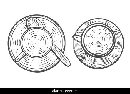 Hand Drawn Cup set of hot drink coffee or tea etc. isolated on white background. vector - Stock Photo