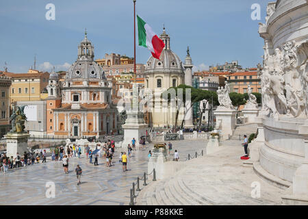 Rome, Italy - Jun 3, 2018 - View of catholic churches from national monument Vittorio Emanuele II at Piazza Venezia in Rome, Italy. - Stock Photo
