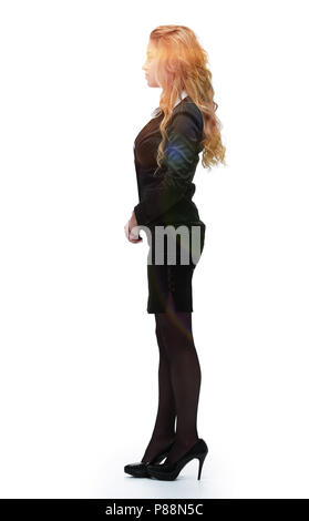 side view. young business woman - Stock Photo