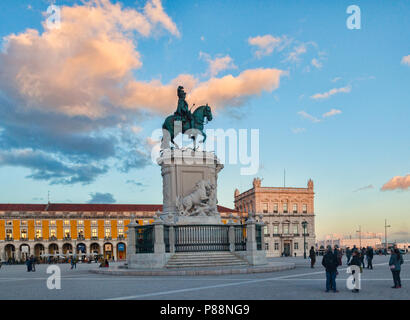 6 March 2018: Lisbon, Portugal -  Praca do Comercio, or Commercial Square, with the equestrian statue of King Jose I, at sunset. - Stock Photo