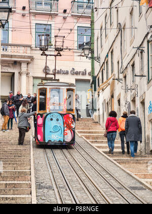 7 March 2018: Lisbon Portugal - The Bica Lift, or Elevador da Bica, in the Misericordia district, a funicular railway line - Stock Photo