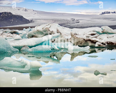 Jokulsarlon glacial river lagoon, South Iceland - Stock Photo