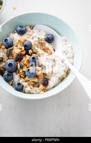 Oats with granola, dried cranberries, pumpkin seeds and blueberries - Stock Photo