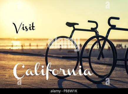 Travel concept. Photograph of bike posts at sunset.  San Diego, California, USA. - Stock Photo