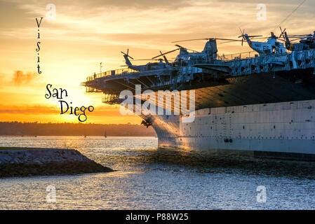 Travel concept. Photograph of San Diego Harbor and the USS Midway ship. San Diego, California, USA. - Stock Photo
