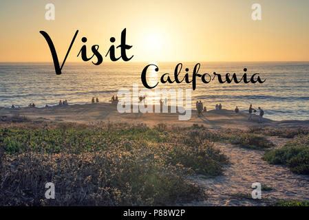 Travel concept. Photograph of Sunset Cliffs Natural Park. San Diego, California, USA. - Stock Photo
