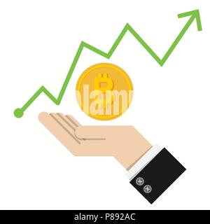 vector Illustration. financial success concept with golden Bitcoins ladder on green graph up chart background. isolated on white background. trade fin - Stock Photo
