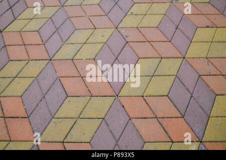 Abstract 3D shapes paved a footpath in Batumi, Georgia - Stock Photo