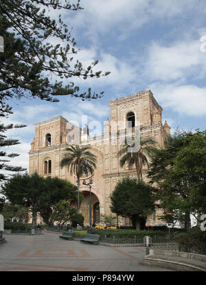 The Cathedral of the Immaculate Conception.Catedral de la Inmaculada Concepción.Situated in front of Parque Calderon Cuenca Ecuador - Stock Photo
