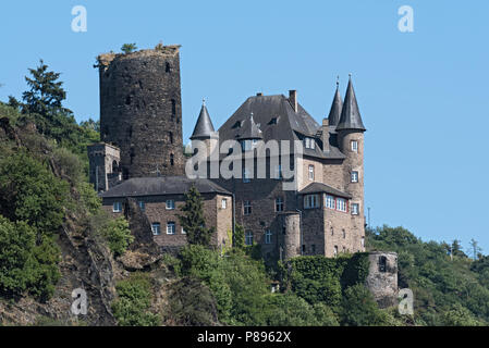 The Maus Castle in the Middle Rhine Valley near Sankt Goarshausen, Germany. - Stock Photo