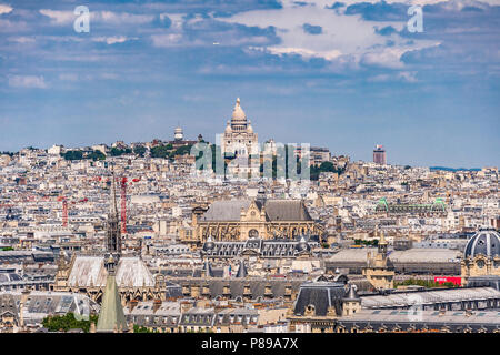 A view of butte Montmartre and Sacré Coeur from a view at the top of Pantheon in Paris, France - Stock Photo