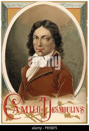 Lucie Camille Benoist Desmoulins (1760-1794), abogado, escritor y político relevante de la revolución francesa. Grabado de 1896. - Stock Photo