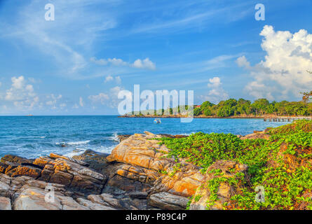 Sunrise over the island of Koh Samet in Thailand. - Stock Photo