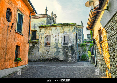 Old street in the Italian town of Sirmione. - Stock Photo