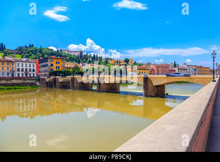 Florence. City landscape. Ponte alle Grazie in the foreground. - Stock Photo